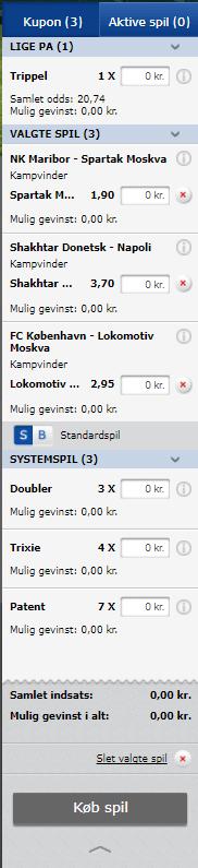 Eksempel på oddskupon fra Oddset hos Danske Spil. På kuponen ses tre udvalgte kampe og deres odds.