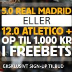 Få odds 5.00 på Real Madrid og odds 12.00 på Atletico Madrid hos Betfair