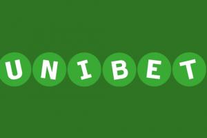 Bookmakeren Unibets logo på grøn baggrund