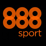 Bookmakerens 888sports officielle logo på sort baggrund