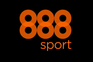 Bookmakerens 888sports officielle logo på sort baggrund
