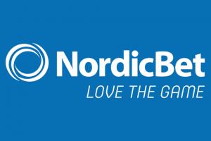 Nordicbets logo og slogan på blå baggrund