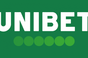 Bookmakeren Unibets officielle logo på grund baggrund