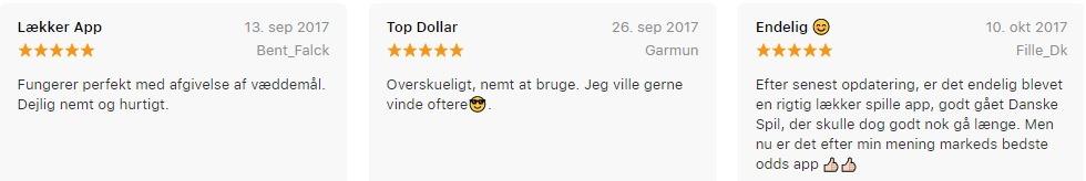 Screenshot af tre anmeldelser af Danske Spil Appen fra App Store. Alle tre anmeldelser giver appen fem stjerner ud af fem og roser den.