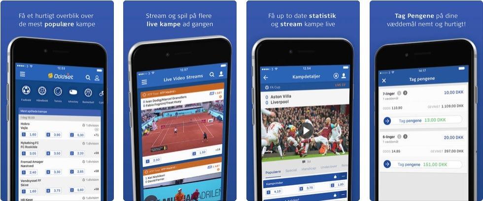 Skærmbilleder fra Danske Spils officielle Oddset-app. I Danske Spil Appen kan man oddse, livestreame sport og se masser af statistik.