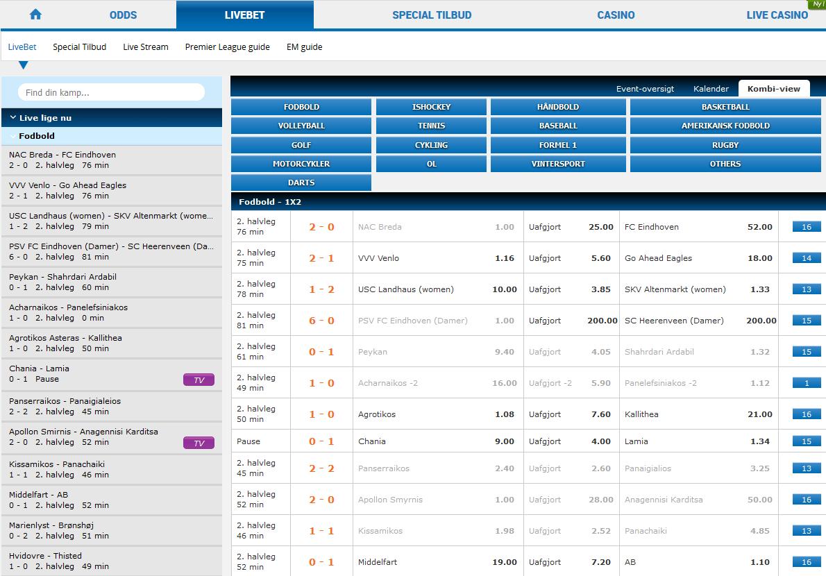 Live odds hos NordicbetDK