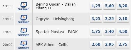 Eksempler på fire fodboldkampe, der kan livestreames gratis hos bookmakeren Danske Spil i Oddset TV. Skærmbilledet viser også oddsene.