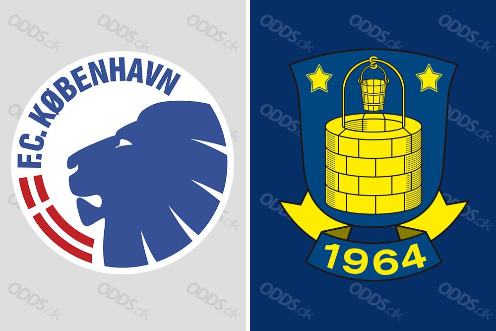 FC København og Brøndby IF's officielle logoer. De to hold er ærkerivaler og Superligaens to største klubber.