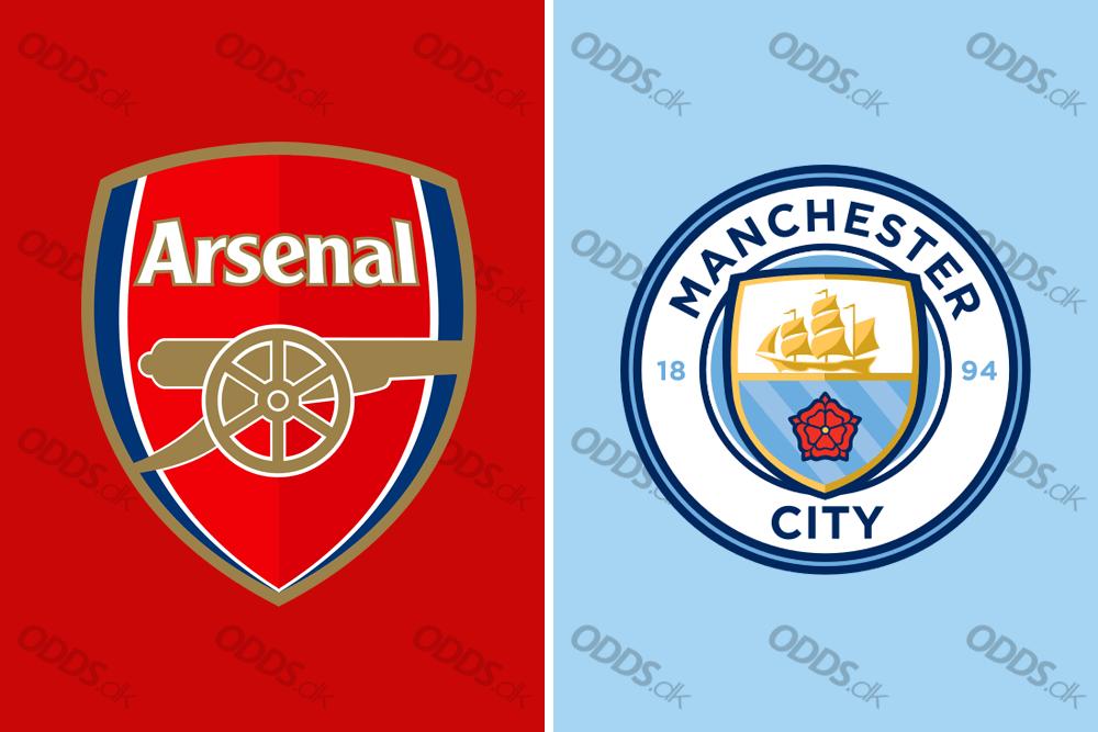 De to Premier League-klubber Arsenal og Manchester Citys officielle logoer. De to hold mødes søndag aften i den engelske liga.
