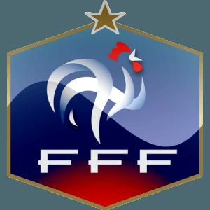 Det franske fodboldforbunds logo på hvid baggrund