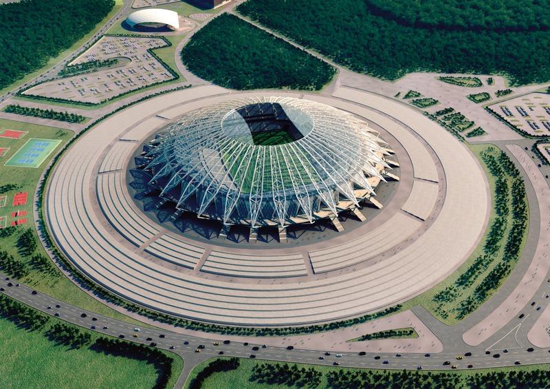 VM 2018-stadionet i Samara set fra luften. Rundt omkring stadionet kan man se skove og en stor vej