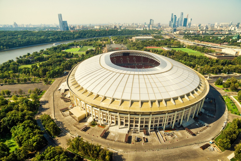 Luzhniki Stadion i Moskva set fra luften