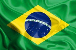 Det brasilianske flag på en bølget baggrund