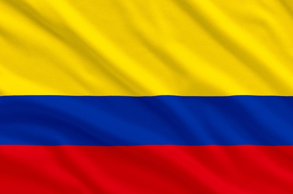 VM-deltageren Colombias flag, der bølger i vinden