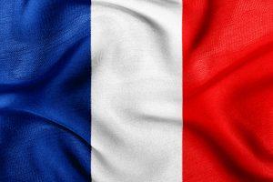 Det franske flag med dets blå, hvide og røde farver