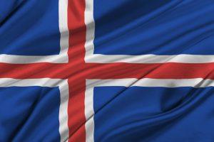 Det islandske flag. Det bruges ved VM 2018
