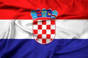 kroatiens flag med dets blå, hvide og røde farver.