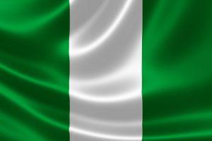 Det nigerianske flag, der er grønt i siderne og hvidt i midten