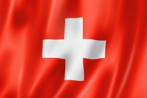 Schweiz' rød-hvide flag med bølger på