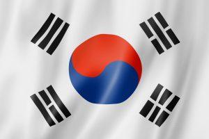 det sydkoreanske flag blafrer i vinden