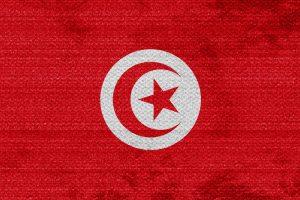 Tunesiens flotte flag i farverne rød og hvid