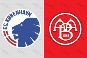 FC København og AaB's logoer. De to hold mødes i Parken søndag aften i den danske Alka Superliga.