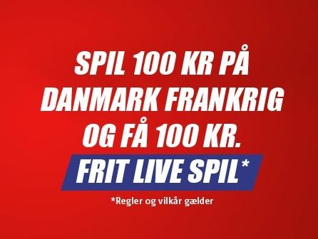 100 kroner frit spil på Danmark Frankrig fra Danske Spil