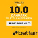 Få sindssyge odds 10 på dansk sejr over Australien