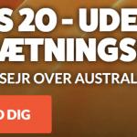 Odds 20 på Danmark vinder mod Australien uden omsætningskrav