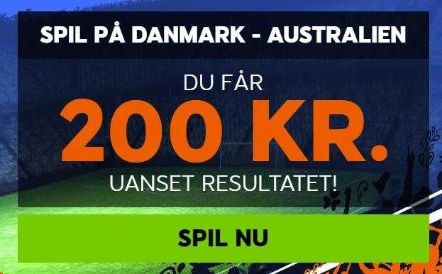 Odds tilbud fra bookmakeren 888sport, hvor man får 200 kroner gratis ved at spille på Danmark - Australien