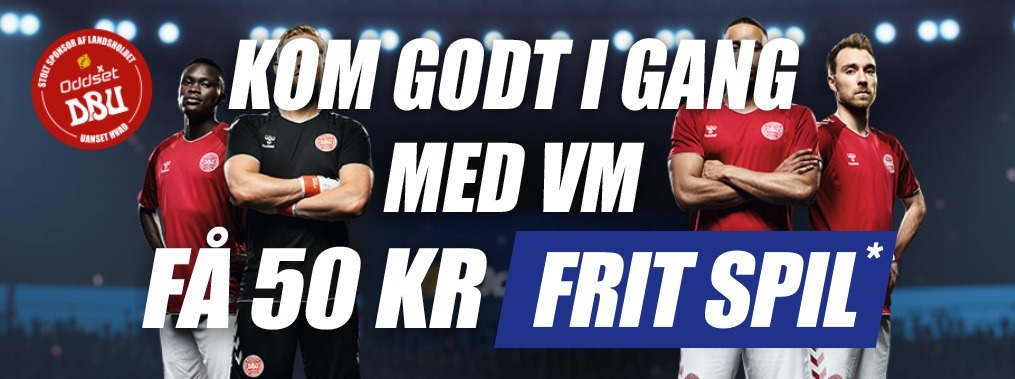 Kampagnebanner fra Danske Spil til VM 2018 i fodbold