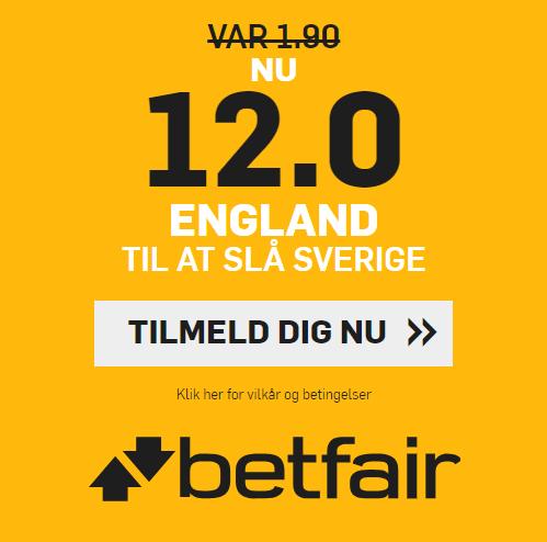 Få odds 12 på England slår Sverige hos betfair