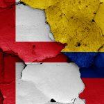 Engelsk og colombiansk flag VM 2018