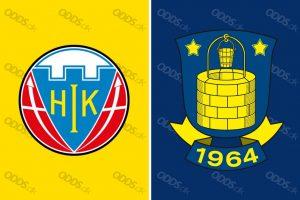 Fodboldklubberne Hobro IK og Brøndby IF's officielle logoer. De to klubber mødes i Superligaen søndag den 29. juli.