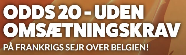 Bookmakertilbud fra LeoVegas Sport, hvor alle nye kunder får odds 20 på Frankrig over Belgien uden omsætningskrav ved VM 2018