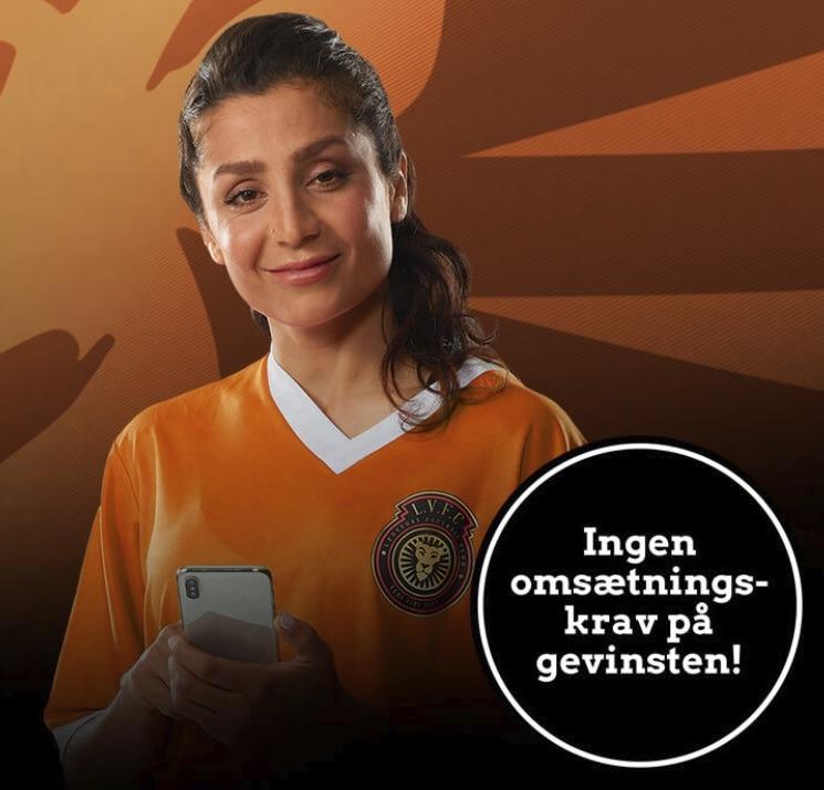 Fodboldspilleren Nadia Nadim i en reklame fra LeoVegas Sport, hvor hun reklamerer for et forhøjet odds uden omsætningskrav på gevinsten.