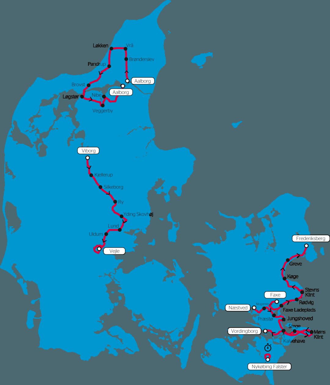 Cykelløbet PostNord Danmark Rundts rute for 2018, hvor rytterne skal ud på fem forskellige etaper