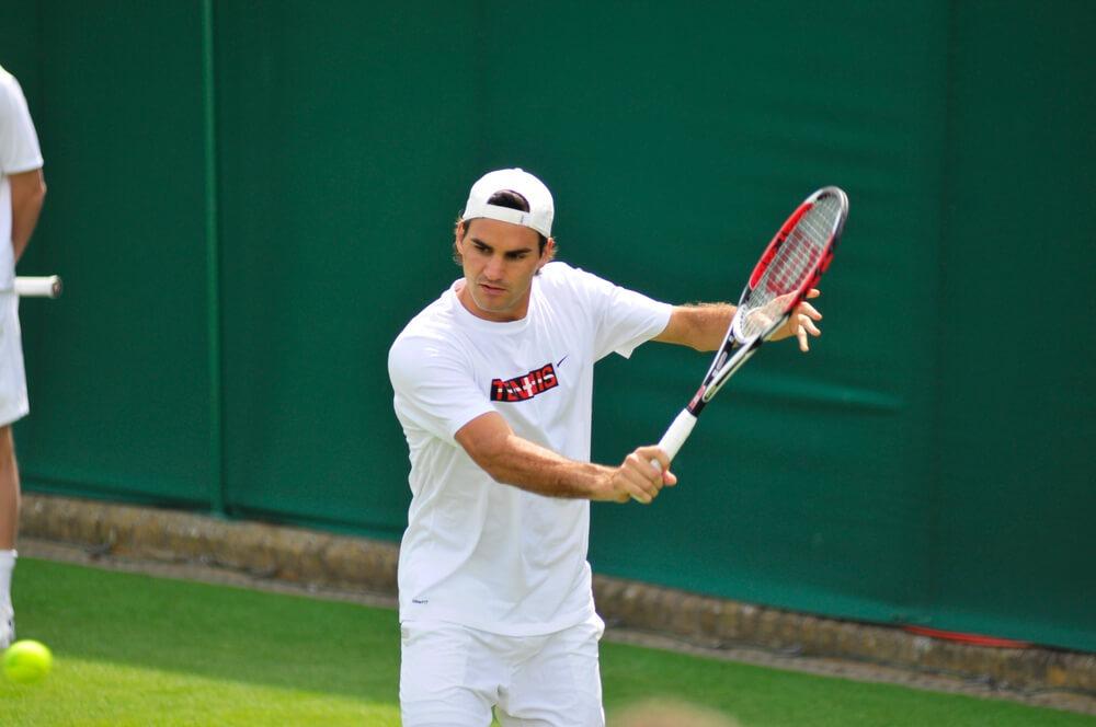 Opvarming af Roger Federer ved WImbledon