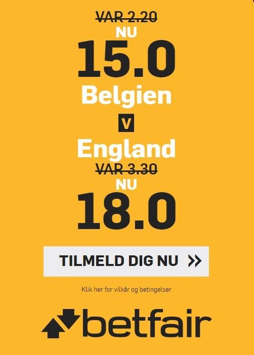 Tilbud fra bookmakeren betfair, der giver alle nye spillere forhøjede odds på VM-kampen mellem Belgien og England