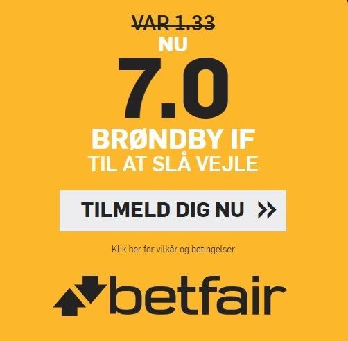 Bookmakertilbud fra betfair, hvor alle nye spillere kan få odds 7 på Brøndby-sejr over Vejle i Superligaen