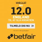 Bookmakertilbud fra betfair, der giver odds 12 på engelsk sejr over Kroatien ved VM til alle nye kunder