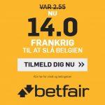 Bookmaker tilbud fra Betfair, hvor alle nye spillere får odds 14,00 på Frankrig over Belgien ved VM i fodbold 2018