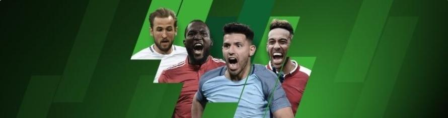 Kampagnebillede fra Unibet med Harry Kane, Romelu Lukaku, Sergio Aguero og Pierre-Emerick Aubameyang.