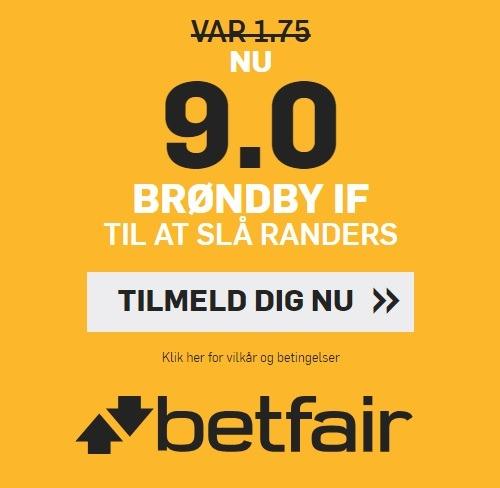 Bookmakertilbud fra betfair Sportsbook, hvor alle nye spillere kan tilmelde sig for at få odds 9,00 på, at Brøndby IF slår Randers FC