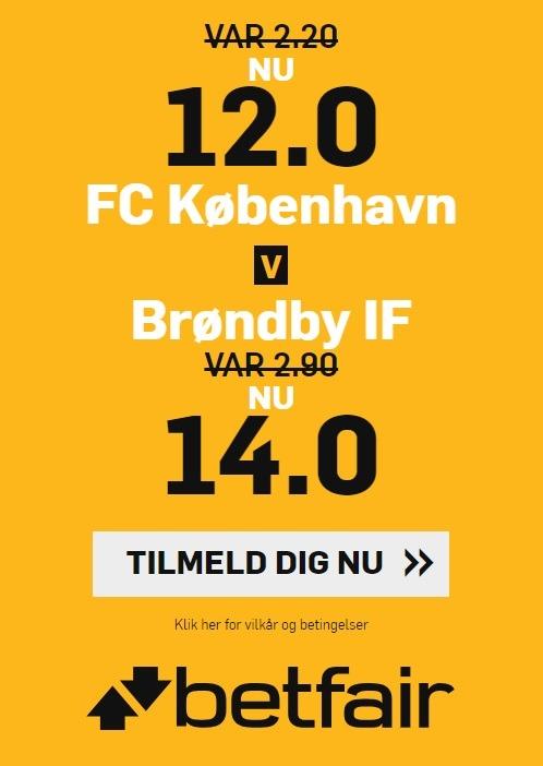Tilbud fra bookmakeren betfair, hvor alle nye spillere får forhøjet deres odds på Superliga-kampen mellem FC København og Brøndby IF.