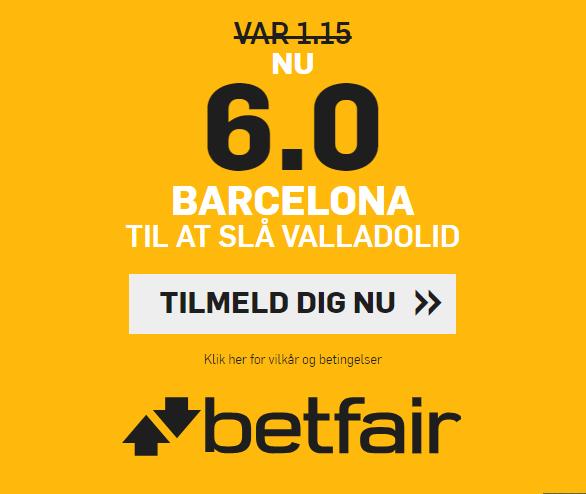 Få odds seks på Barcelona slår Valladolid
