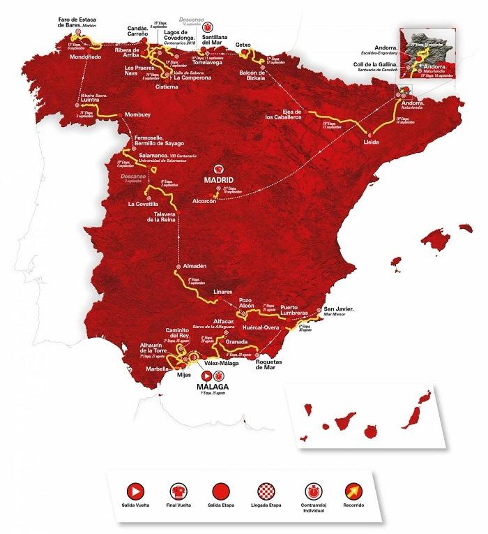 Kort over Spanien, der viser ruten for Vuelta a Espana 2018 og alle etaperne.