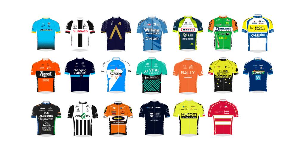 Trøjerne på samtlige hold, der deltager i cykelløbet PostNord Danmark Rundt 2018.