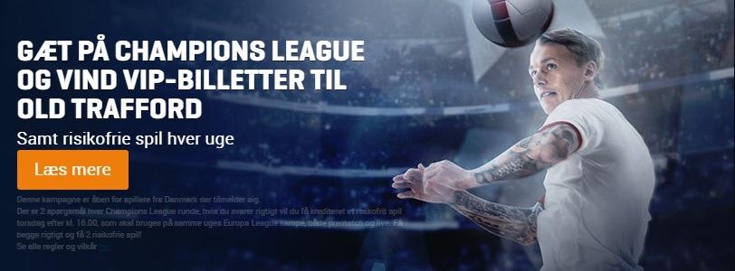 Champions League-konkurrence fra NordicBet, hvor man kan vinde en VIP-tur til Manchester for at se Manchester United imod Valencia.
