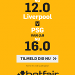 Har du ikke en konto hos betfair? Få odds 12 på Liverpool eller 16 på PSG!